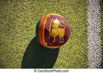 football ball with the national flag of sri lanka lies on...