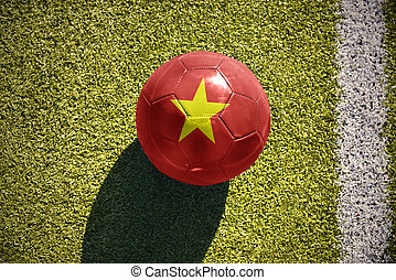 football ball with the national flag of vietnam lies on the...