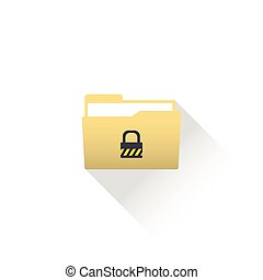 Data protected computer folder icon with files and lock (key).