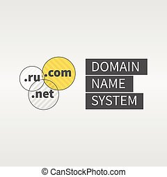 Domain name services web logo and icon. Text to the right. -...