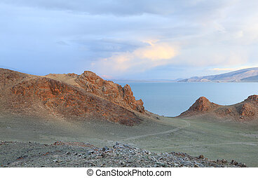 Mountain Lake landscape - Tolbo Nuur lake Tolbo in Mongolian...