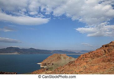 Mountain Lake landscape - Tolbo Nuur lake ( Tolbo ) in...