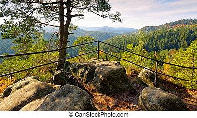 viewpoint Kleinsteinaussicht in Elbe Sandstone Mountains,...
