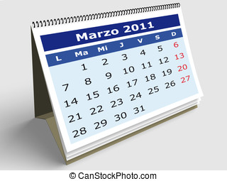 March 2011 - March in a Spanish Calendar for 2011. 3d render