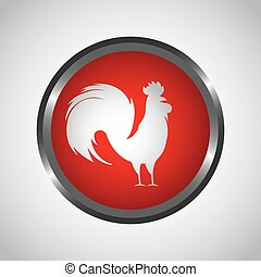rooster icon of chinese calendar - button with roster icon...