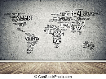 World map in typography - Concept of global business with...