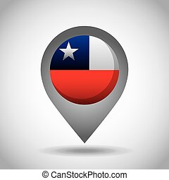 chile flag pin - chile country flag pin icon over white...