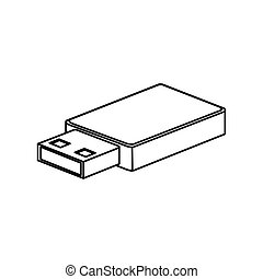 Usb icon. Connection technology equipment and hardware theme. Isolated design.