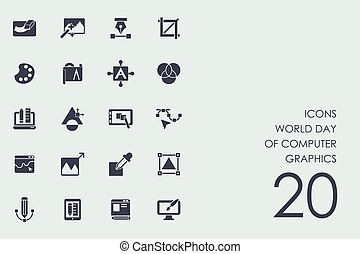 Set World day of computer graphics icons - World day of...