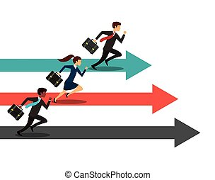 competitive business design - businessmen and women running...