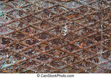 Rusted metal texture, with rhombus shapes - Rusted metal...