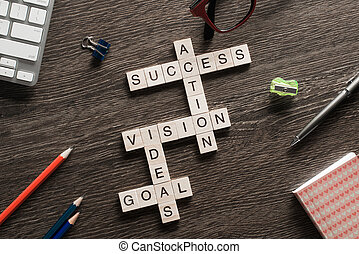 Success achieving business keywords collected of wooden...