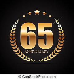 Template Logo 65 Years Anniversary Vector Illustration EPS10