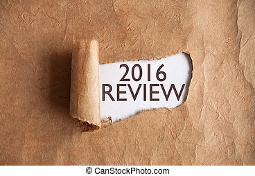 2016 review - Torn piece of scroll revealing 2016 review...