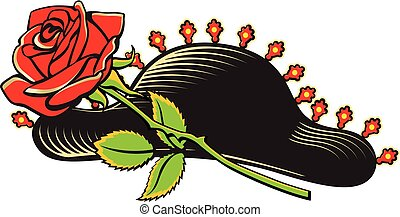 Cartoon style traditional bullfighter hat and red rose -...