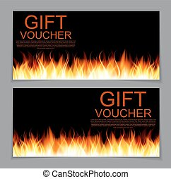 Gift Voucher Template with Burning Flame of Fire. Discount...