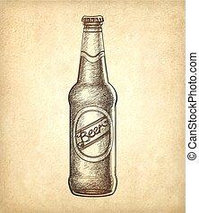Beer bottle on old paper background.