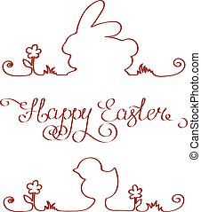 Easter bunny chicken outline