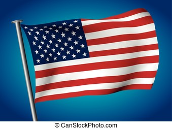 USA flag waving on the sky vector