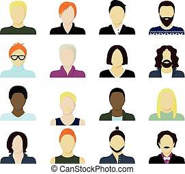 men cartoon portraits set