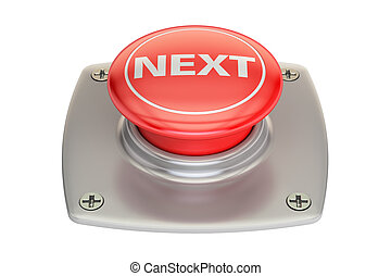 Next Red button, 3D rendering isolated on white background