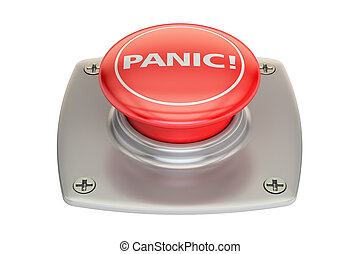Panic red button, 3D rendering