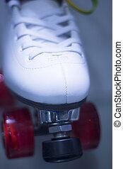 Rollerskates in skate store - Quad figure skate rollerskates...