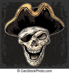 Skull in pirate clothes eye patch and hat smiling. Black vintage engraving vector