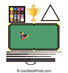 Billiards game equipment vector.