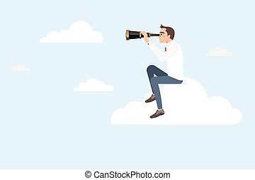 Businessman sitting on a cloud using telescope looking for...