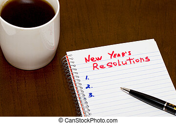 list of New year resolution conceptual - Improvement list of...