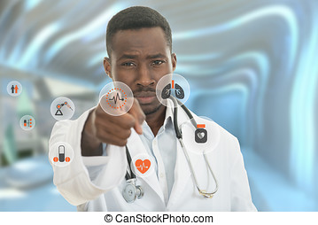 Angry african black male doctor pointing finger at you with...