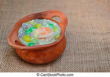 Dumplings in coconut cream, Bua Loi, Dessert of Thailand. -...