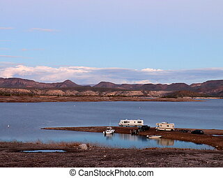 Campers and Boats Parked on Lake Pleasant Shoreline