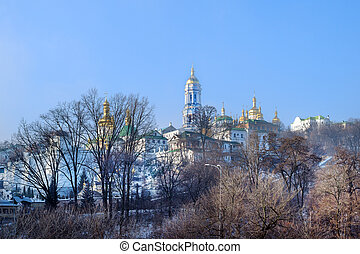 Lavra winter view - Kiev Pechersk ancient orthodox monastery...