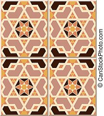 Ceramic tile pattern of Islamic geometry cross polygon star.