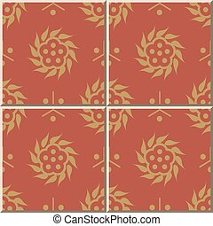 Ceramic tile pattern of oriental chinese round spiral flower