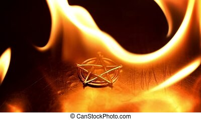 Ancient pentagram burning slow motion from 120fps - Ancient...