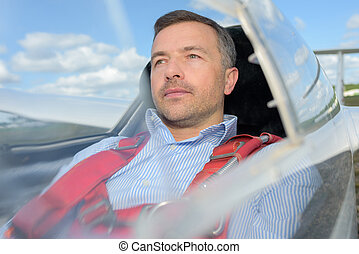 co-pilot ready to take-off in glider