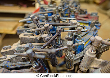 Closeup of industrial clamps