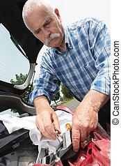 seu,  car, ancião, consertando, lar, homem