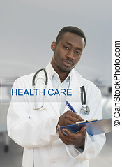 Attractive african american young doctor with health care sign