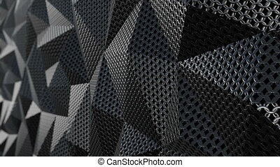 Metallic chain armor geometric background loop - Metallic...