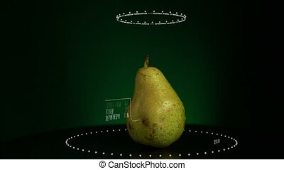 Infographic of Pear with vitamins, microelements minerals. Energy, calorie and component