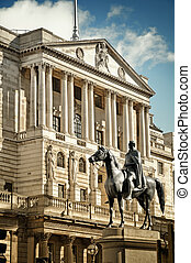 Bank Of England - Close-up of Bank Of England`s facade with...