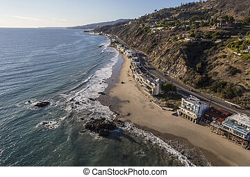 Pacific Coast Highway in Malibu California - Aerial of...