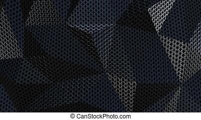 Metallic chain armor geometric background loop - Metallic...