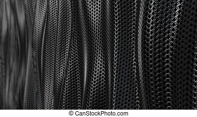 Dark metallic chain armor wave background loop