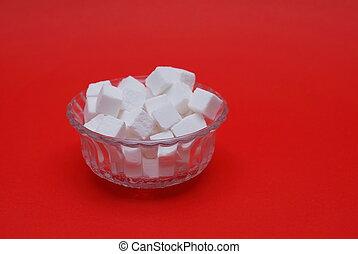 sugar on red background - sugar