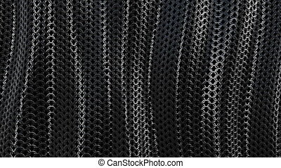 Dark metallic chain armor wave background loop - Dark...